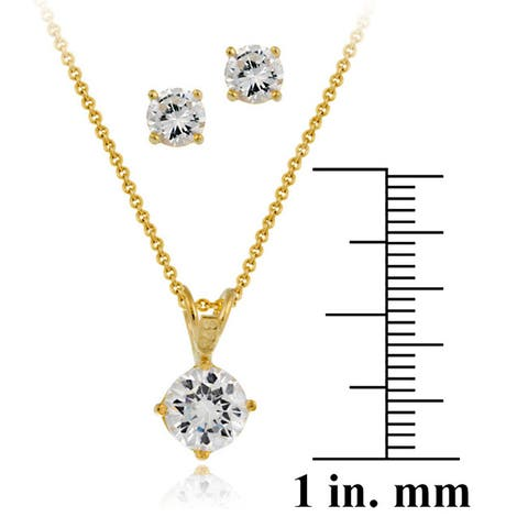 Icz Stonez 18k Gold over Sterling Silver Round CZ Pendant and Earring Set