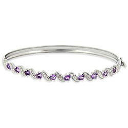 Glitzy Rocks Sterling Silver Amethyst and Diamond Accent Bangle