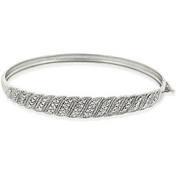 DB Designs Sterling Silver 'S' Design Diamond Accent Bangle