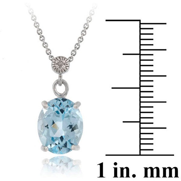 Glitzy Rocks Sterling Silver 4 2/5ct TGW Blue Topaz and Diamond Accent Necklace