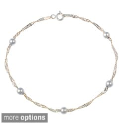 Mondevio Sterling Silver/Gold Overlay Diamond-cut Chain and Bead Anklet