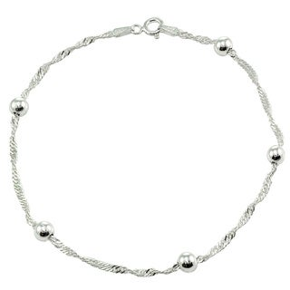Mondevio Sterling Silver/ Gold Overlay Diamond-cut Chain and Bead Anklet (3 options available)