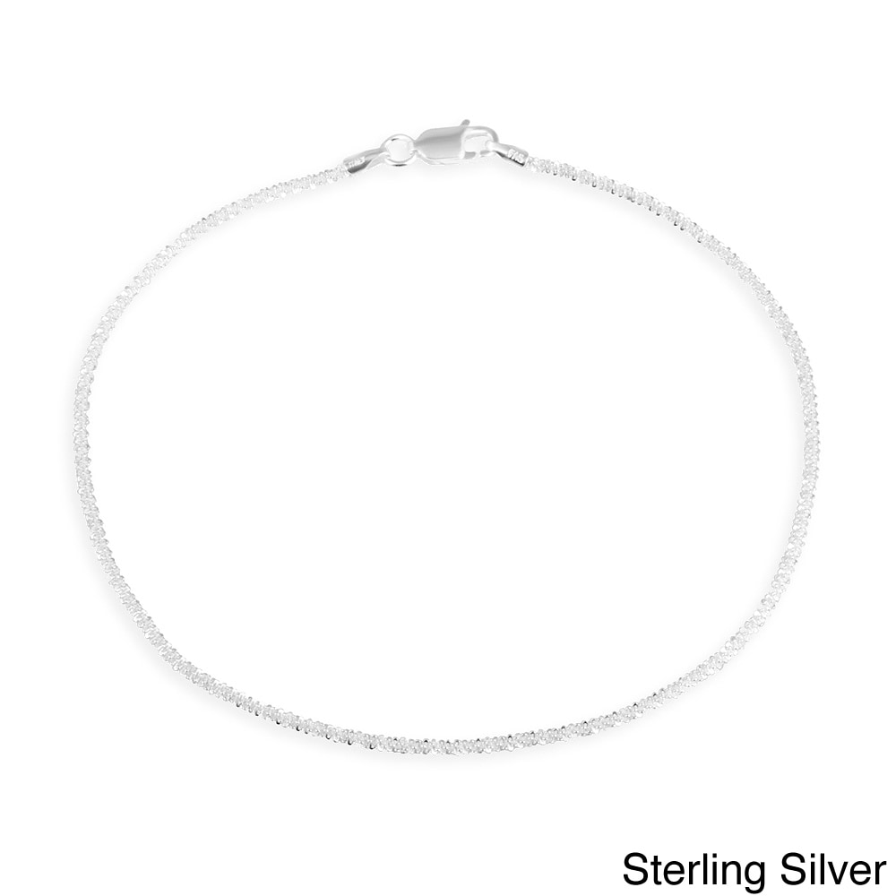 925 Sterling Silver 2mm Polished Turtle Chain Anklet with 1in Extender Length