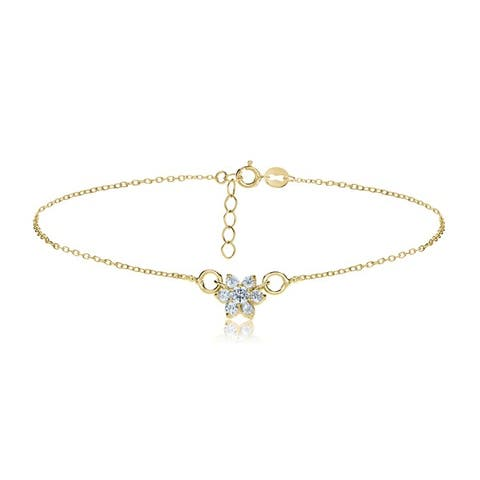 Icz Stonez Sterling Silver Cubic Zirconia Flower Anklet