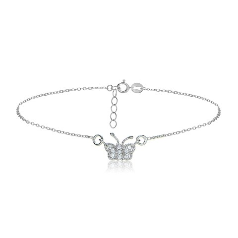 Icz Stonez Sterling Silver/Gold Over Silver CZ Butterfly Anklet