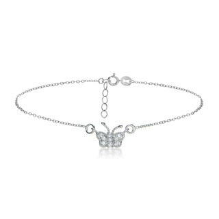 Icz Stonez Sterling Silver/Gold Over Silver CZ Butterfly Anklet (2 options available)