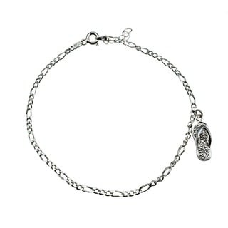 Icz Stonez Sterling Silver Cubic Zirconia Flip Flop Anklet