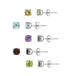 Glitzy Rocks Sterling Silver Multi-gemstone Earring Studs (Set of 5)