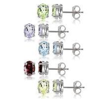 Glitzy Rocks Sterling Silver Multi-gemstone Oval Earring Studs (Set of 5)