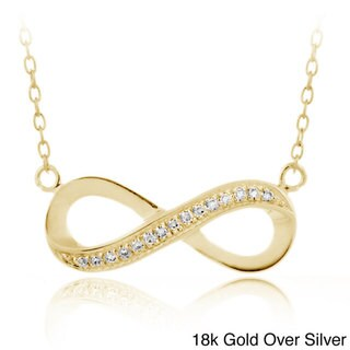 Icz Stonez Sterling Silver Clear Cubic Zirconia Infinity Necklace