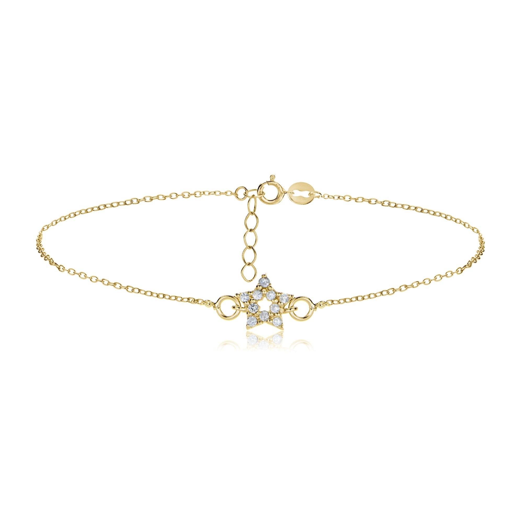 gold star anklet Cubic zirconia star anklet minimalist anklet dainty star anklet silver star shinny anklet cz star anklet gift 123