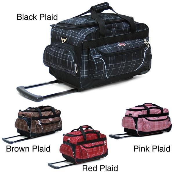 CalPak Champ Plaid 21 Inch Carry On Rolling Upright Duffel Bag