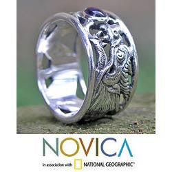 Handmade Sterling Silver 'Dragon Guardian' Amethyst Ring (Indonesia)