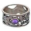 Handmade Sterling Silver 'Dragon Guardian' Amethyst Ring (Indonesia)