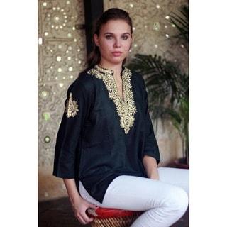 Handmade Cotton 'Mughal Enchantment' Tunic (India)