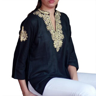 Handmade Cotton 'Mughal Enchantment' Tunic (India)