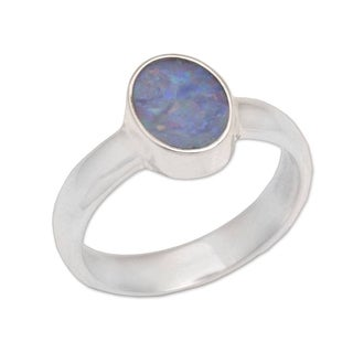 Handmade Opal 'Intensity' Solitaire Sterling Silver Ring (Indonesia)