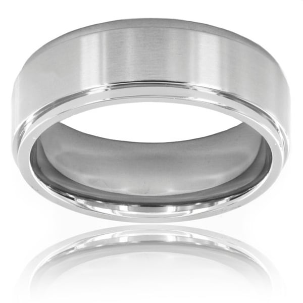Crucible Men's Brushed Titanium 7mm Comfort-fit Wedding Band