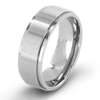 Crucible Men's Brushed Titanium Comfort-fit Wedding Band - 7mm Wide
