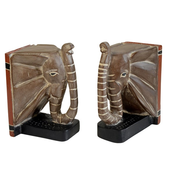 Cedar Hand-finished Elephant Head Bookends (Ghana)