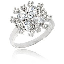 Icz Stonez Sterling Silver Cubic Zirconia Snowflake Ring