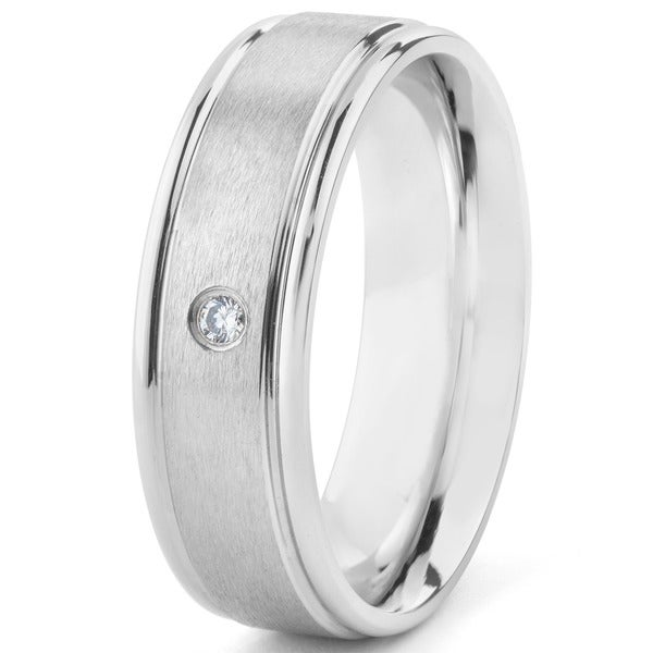 Stainless Steel Cubic Zirconia Ring - Silver