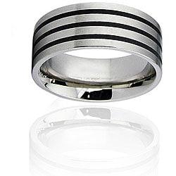 Stainless Steel Black Resin Inlay Ring