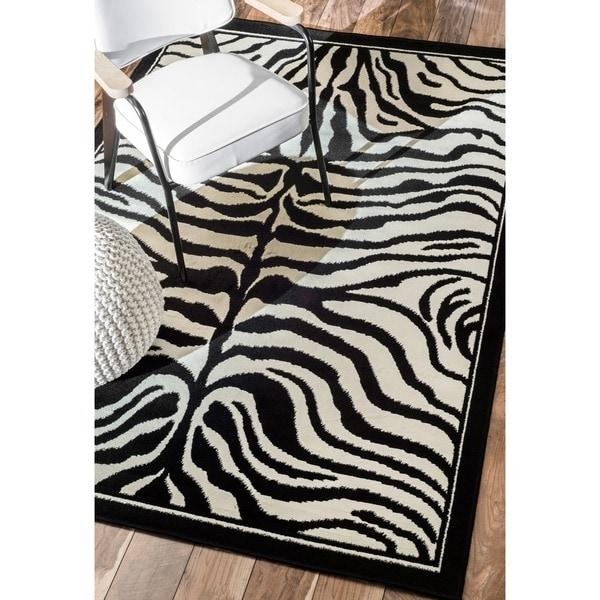 NuLOOM Zebra Animal Print Black/ White Rug (7'10 X 10'10