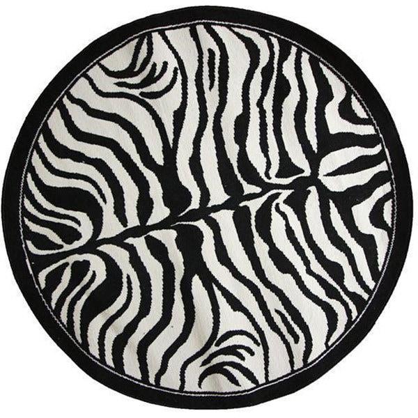 NuLOOM Zebra Animal Print Black/ White Rug (5' 3 Round