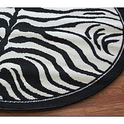 Nuloom Zebra Animal Print Black White Rug 5 3 Round