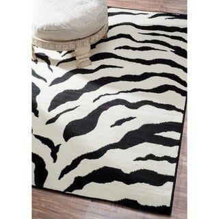 Thumbnail 1, Porch & Den Williamsburg Ainslie Zebra Animal Print Black/ White Rug (7'10 x 10'10).