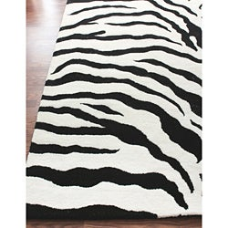 Thumbnail 2, Porch & Den Williamsburg Ainslie Zebra Animal Print Black/ White Rug (7'10 x 10'10). Changes active main hero.