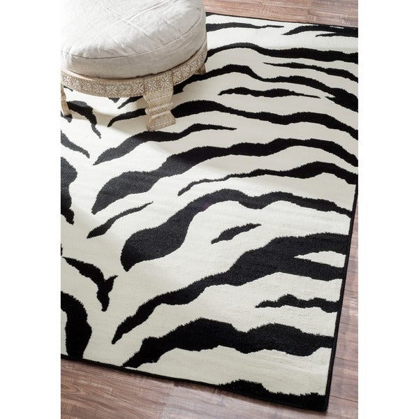 Nuloom Zebra Animal Print Black Off White Rug 5 X27