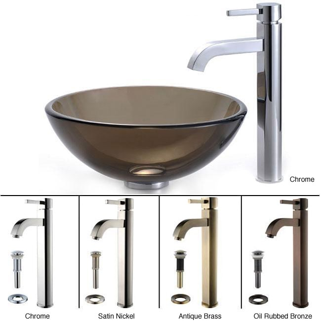 KRAUS Glass Vessel Sink in Brown with Single Hole Single-Handle Ramus Faucet in Chrome