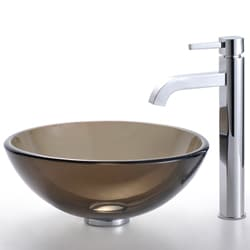 KRAUS Glass Vessel Sink in Brown with Single Hole Single-Handle Ramus Faucet in Chrome - Thumbnail 1