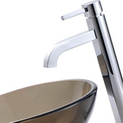 KRAUS Glass Vessel Sink in Brown with Single Hole Single-Handle Ramus Faucet in Chrome - Thumbnail 2