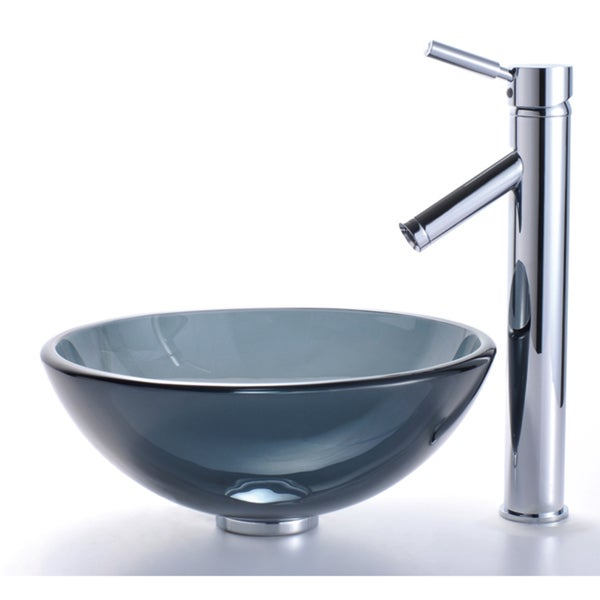KRAUS Glass Vessel Sink In Black With Single Hole Single Handle Sheven  Faucet In Satin Nickel   Free Shipping Today   Overstock.com   12110480