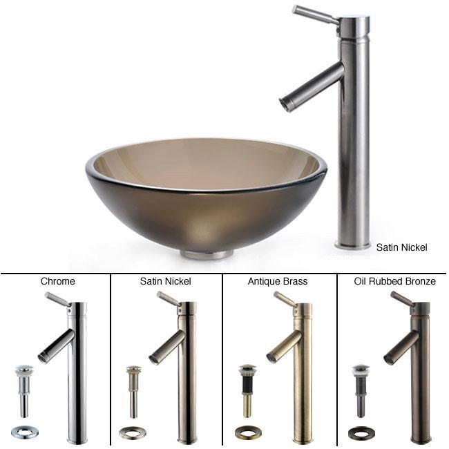 Kraus Frosted Brown 14-inch Glass Vessel Sink/ Sheven Faucet
