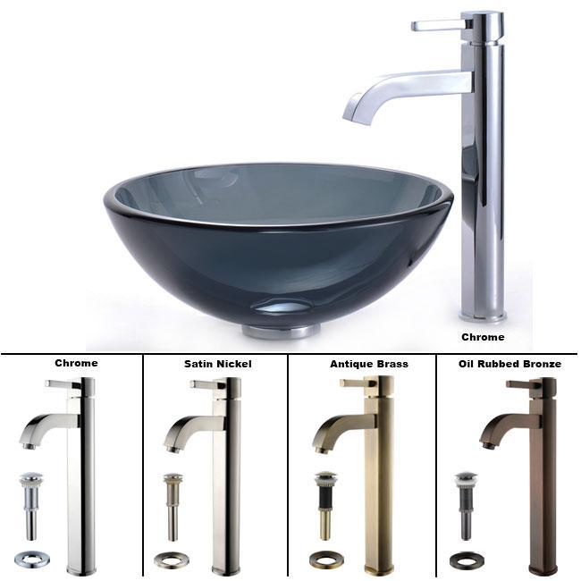 KRAUS Glass Vessel Sink in Black with Single Hole Single-Handle Ramus Faucet in Chrome