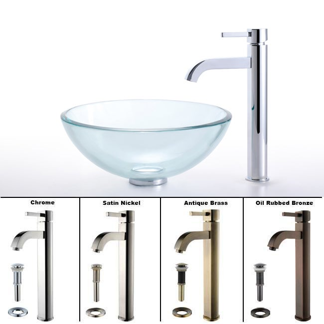 KRAUS Glass Vessel Sink with Single Hole Single-Handle Ramus Faucet in Chrome