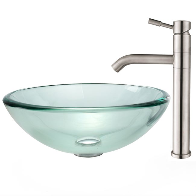 Kraus Clear 19mm Thick Glass Vessel Sink and Aldo Faucet