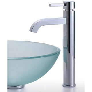 Kraus 4-in-1 Bathroom Set C-GV-101FR-14-12mm-1007 Frosted Glass Vessel Sink, Ramus Faucet, Pop Up Drain, Mounting Ring