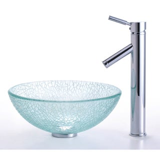 KRAUS Broken Glass Vessel Sink in Clear with Single Hole Single-Handle Sheven Faucet in Satin Nickel