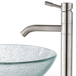 Kraus Broken Glass 14-inch Vessel Sink and Steel Faucet