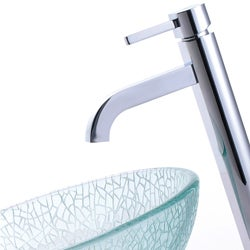 KRAUS Broken Glass Vessel Sink in Clear with Single Hole Single-Handle Ramus Faucet in Chrome