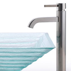 Kraus Square Clear Alexandrite Vessel Sink and Ramus Faucet