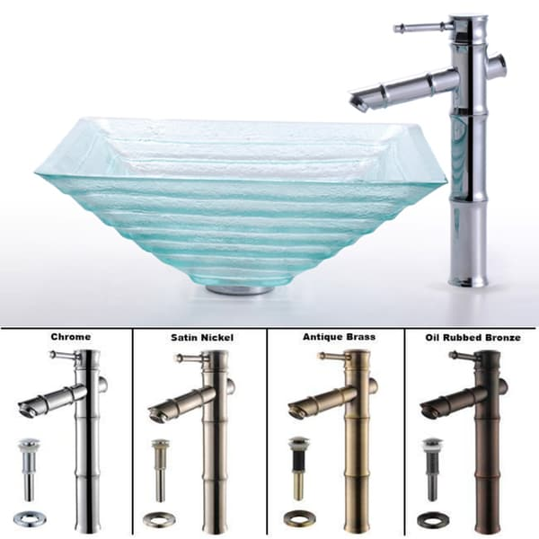 Kraus Alexandrite Clear Glass Sink and Bamboo-style Faucet