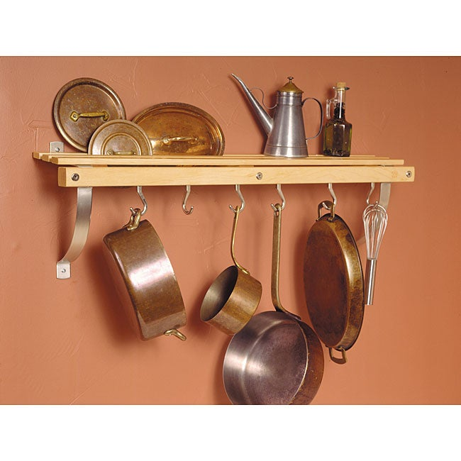 J.K. Adams Wall-mounted Natural Wood Pot Rack