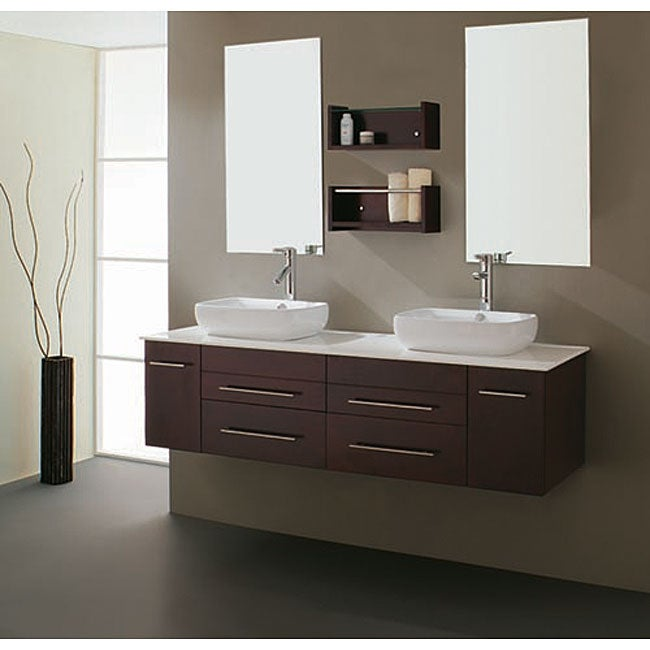 virtu usa augustine 60inch double sink bathroom vanity set - 60 Inch Vanity