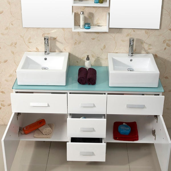 Virtu USA Maybell Inch Tempered Glass Double Sink Bathroom - 56 bathroom vanity double sink for bathroom decor ideas
